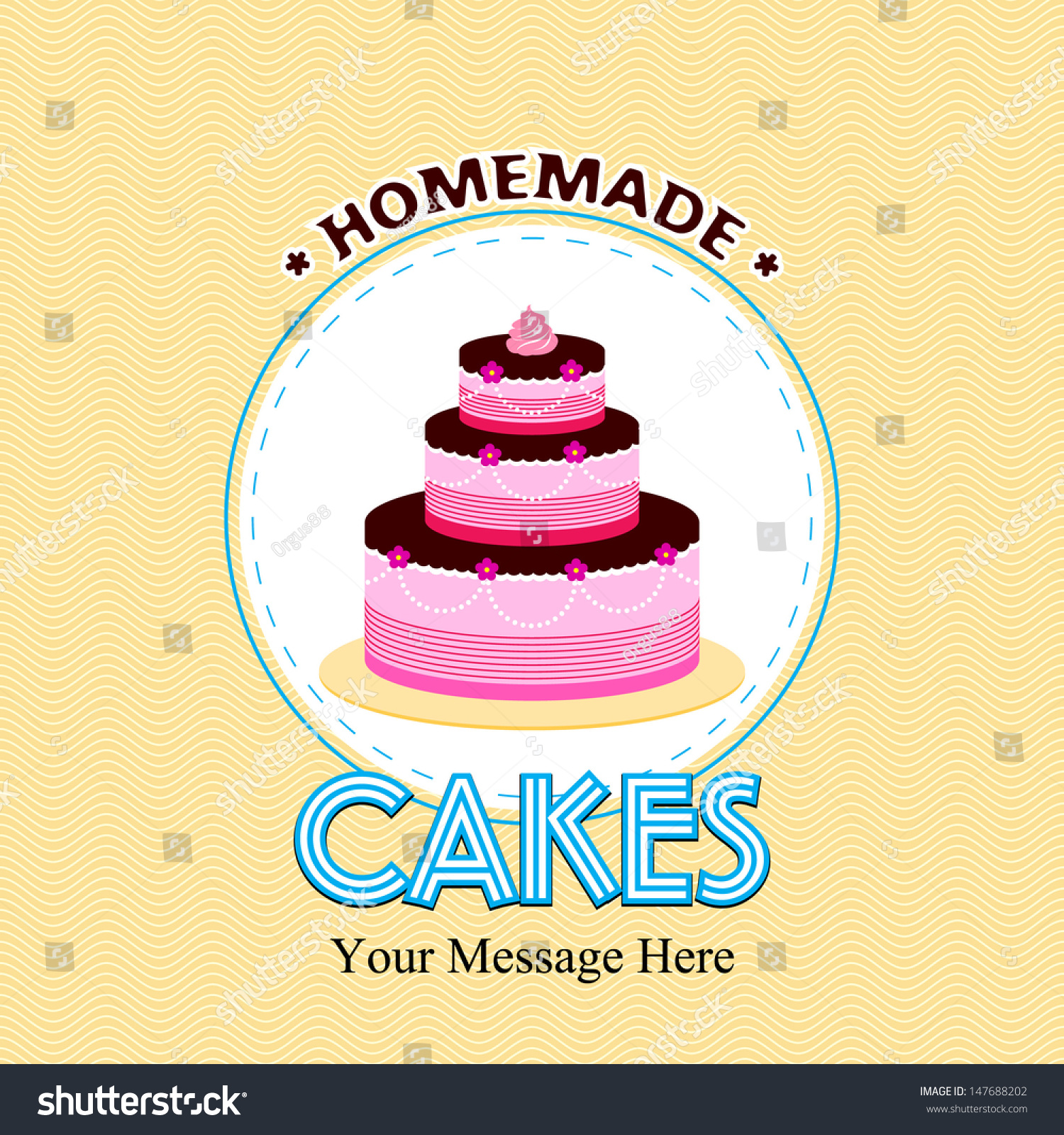 Vintage Home Made Cakes Vector Happy Stock Vector Royalty Free