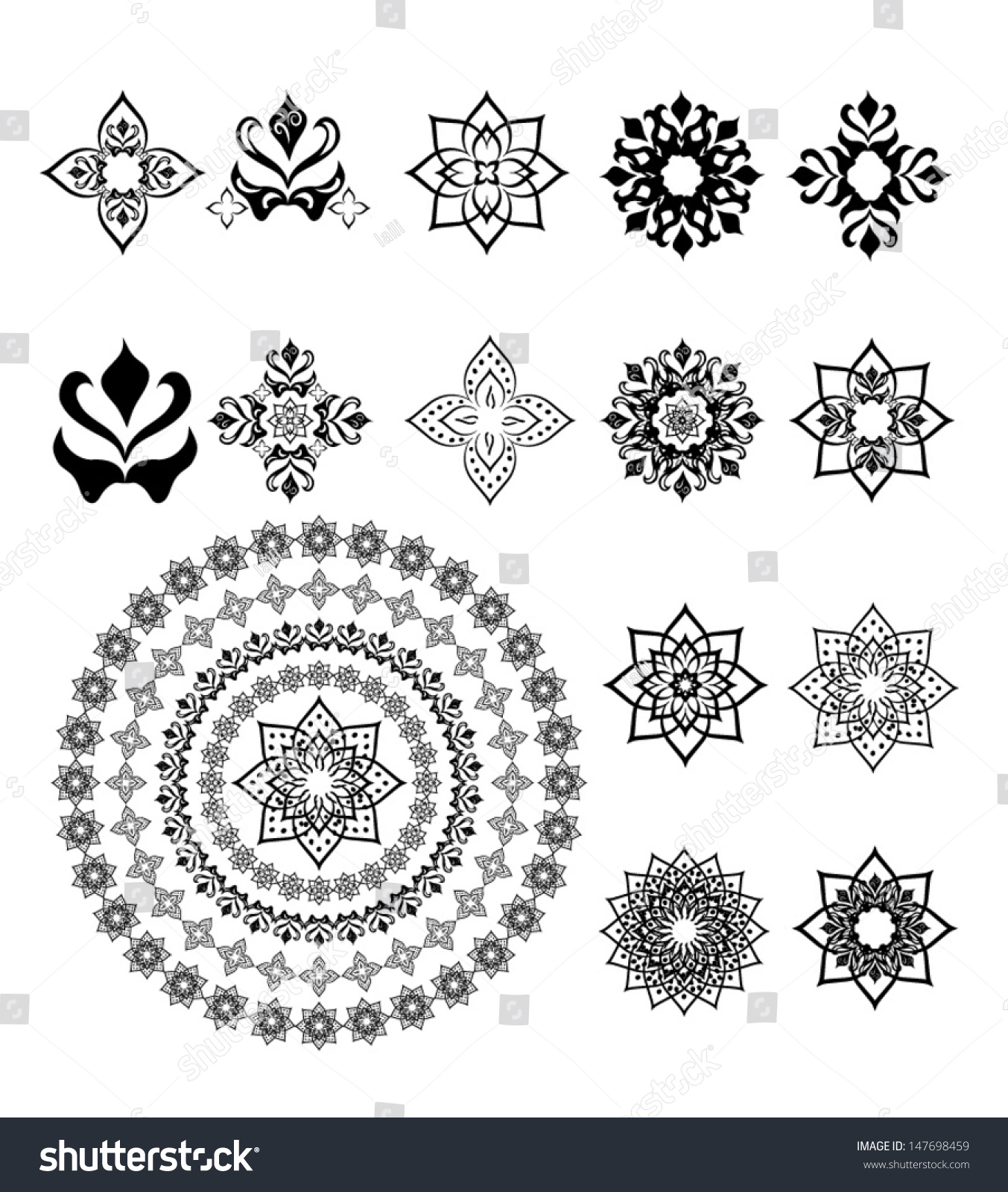 Set Arabic Ornament Decoration Vector Stock Vector