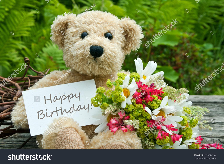 Teddy Bear Flowers Birthday Cardbirthday Cardteddy Photo – Birthday Cards with Flowers
