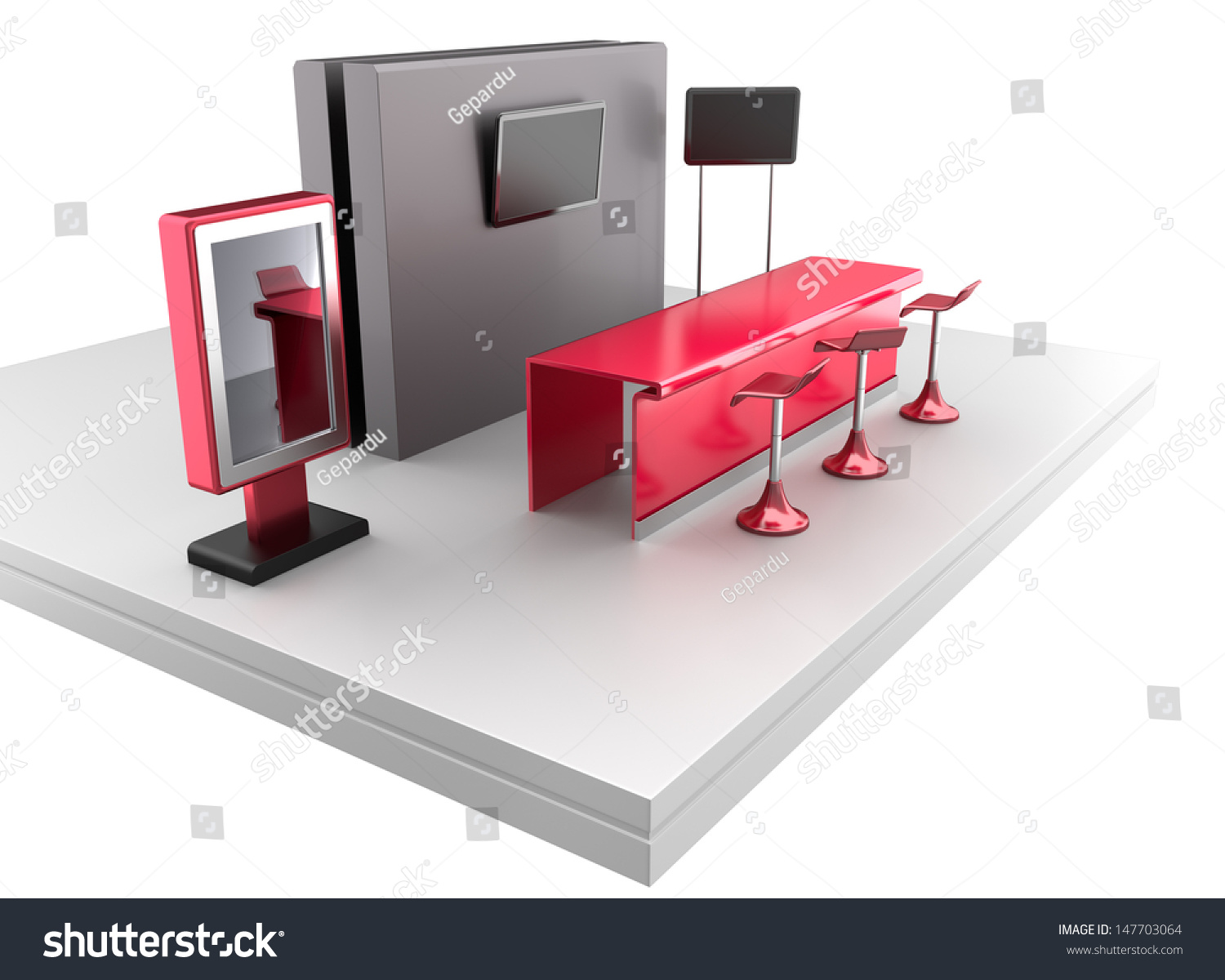 Exhibition Stall Rendering : Trade exhibition booth or stall d render stock photo