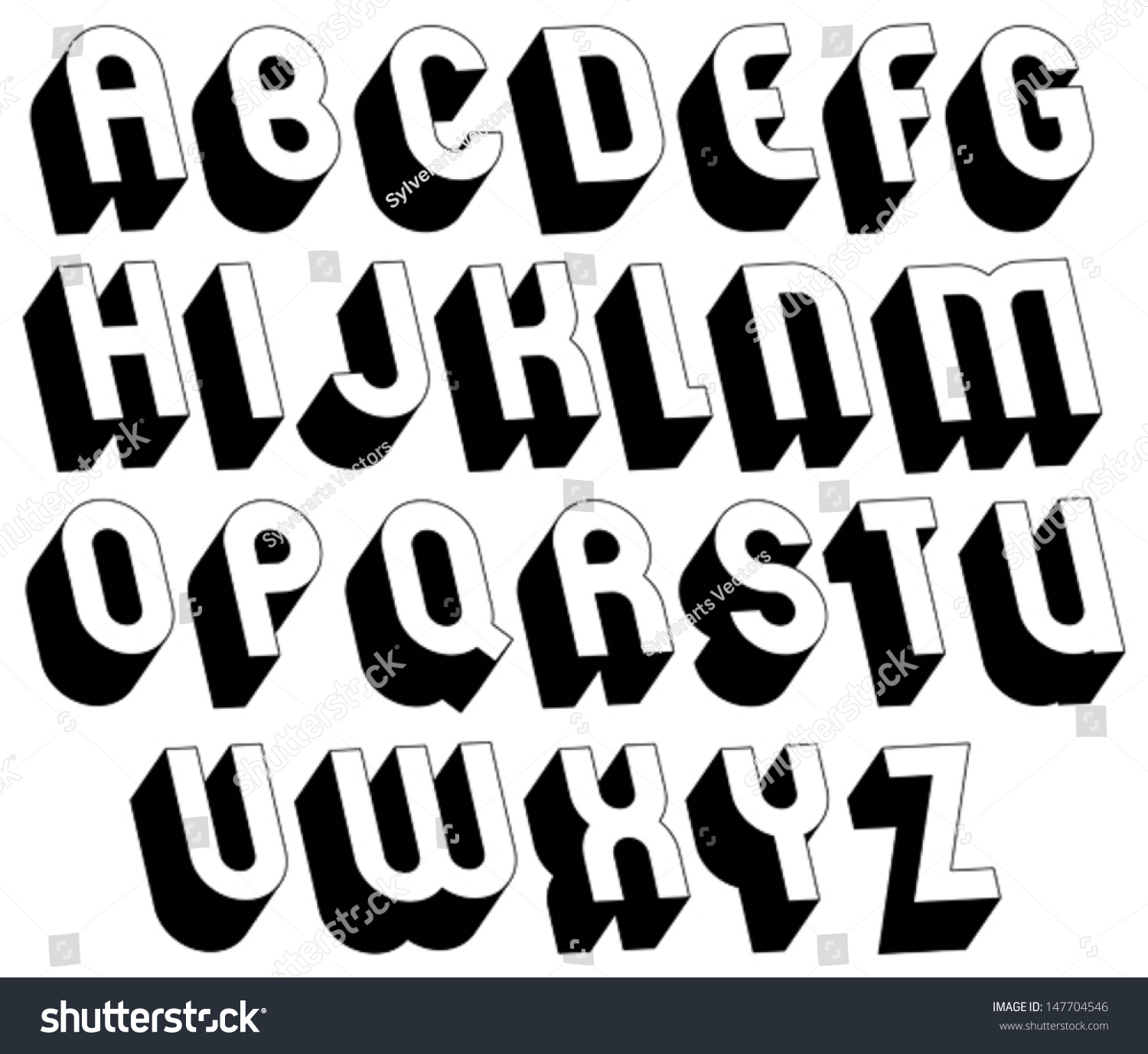 Black And White 3d Font Single Color Simple Bold Letters Alphabet Best For