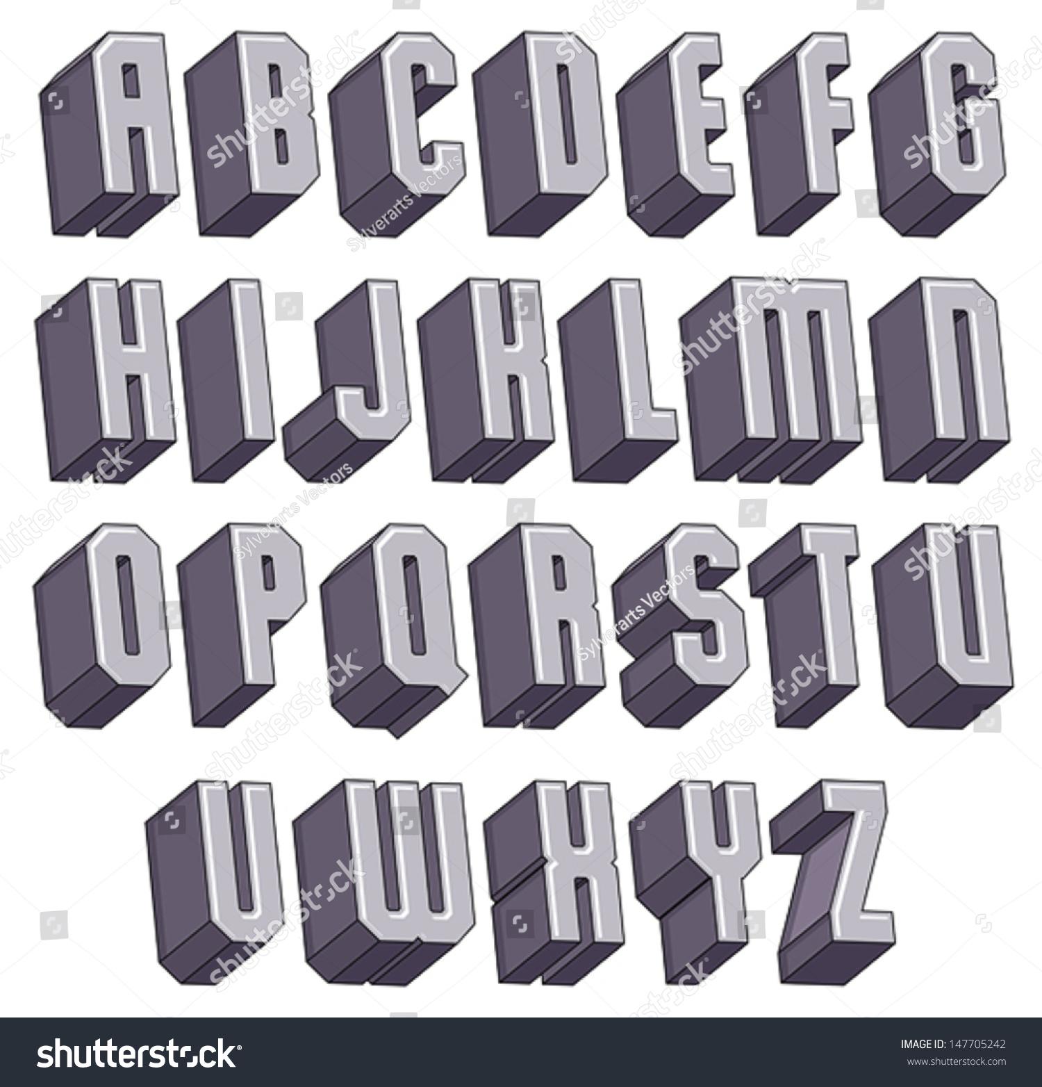 3d Geometric Bold Font Monochrome Dimensional Alphabet Heavy Letters For Design