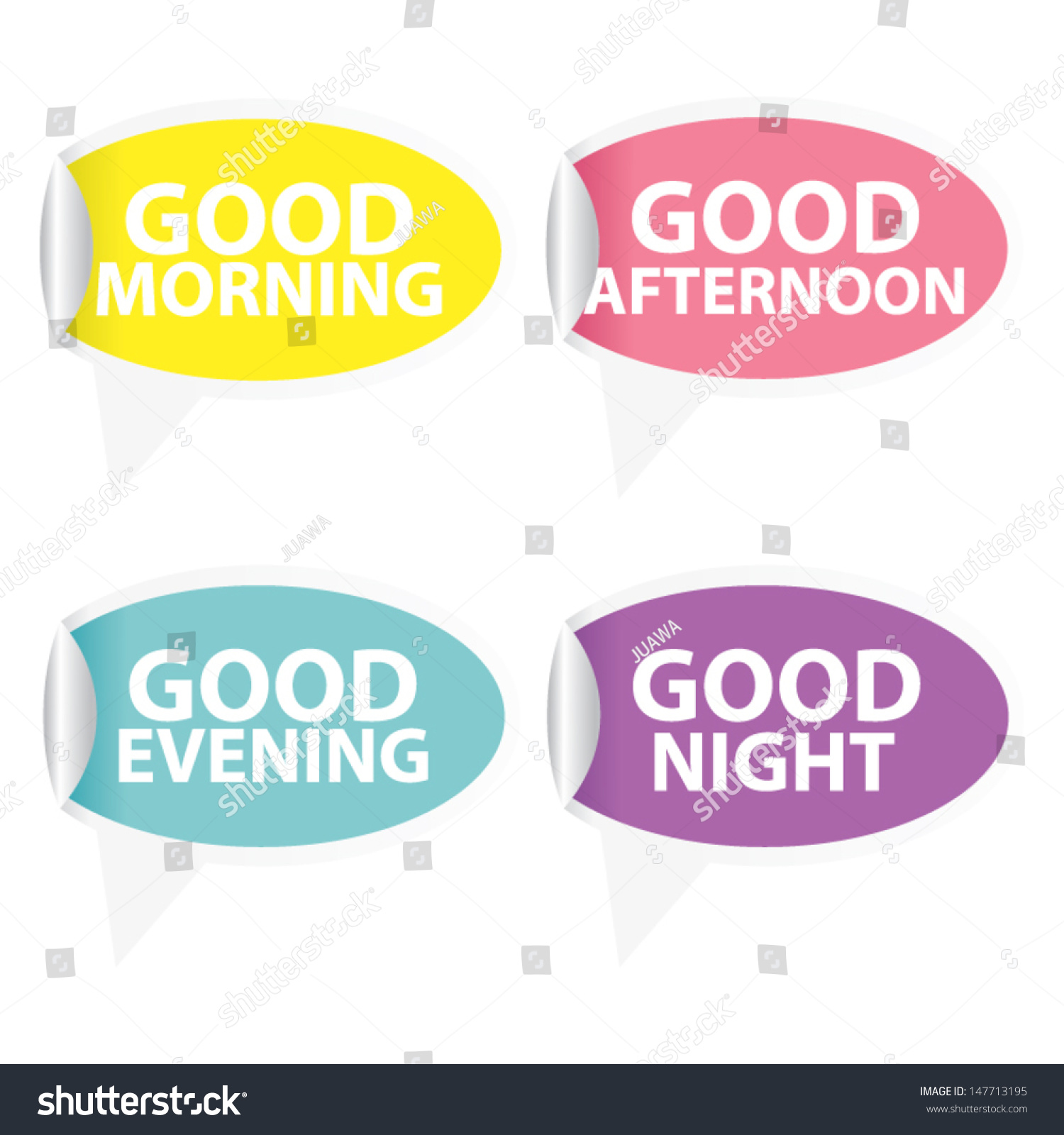 Good Morning Good Afternoon Good Evening Stock Vector Royalty Free 147713195