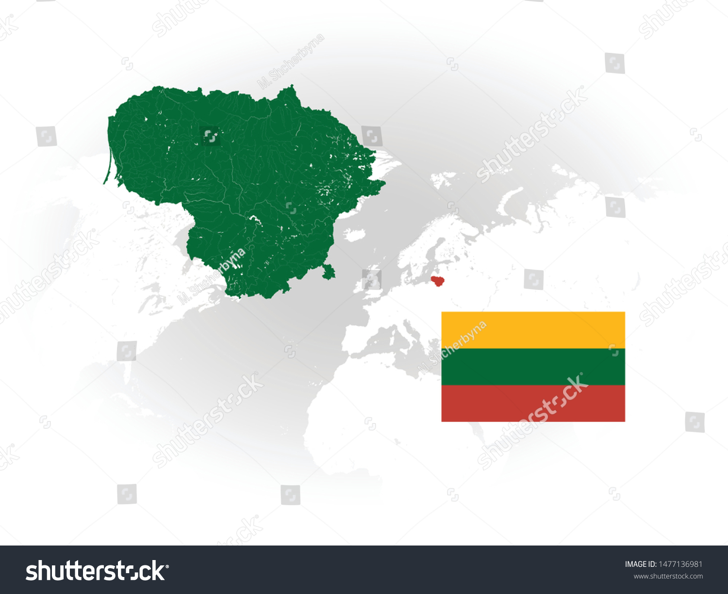 Image of: Map Lithuania Rivers Lakes Flag Lithuania Stock Vector Royalty Free 1477136981