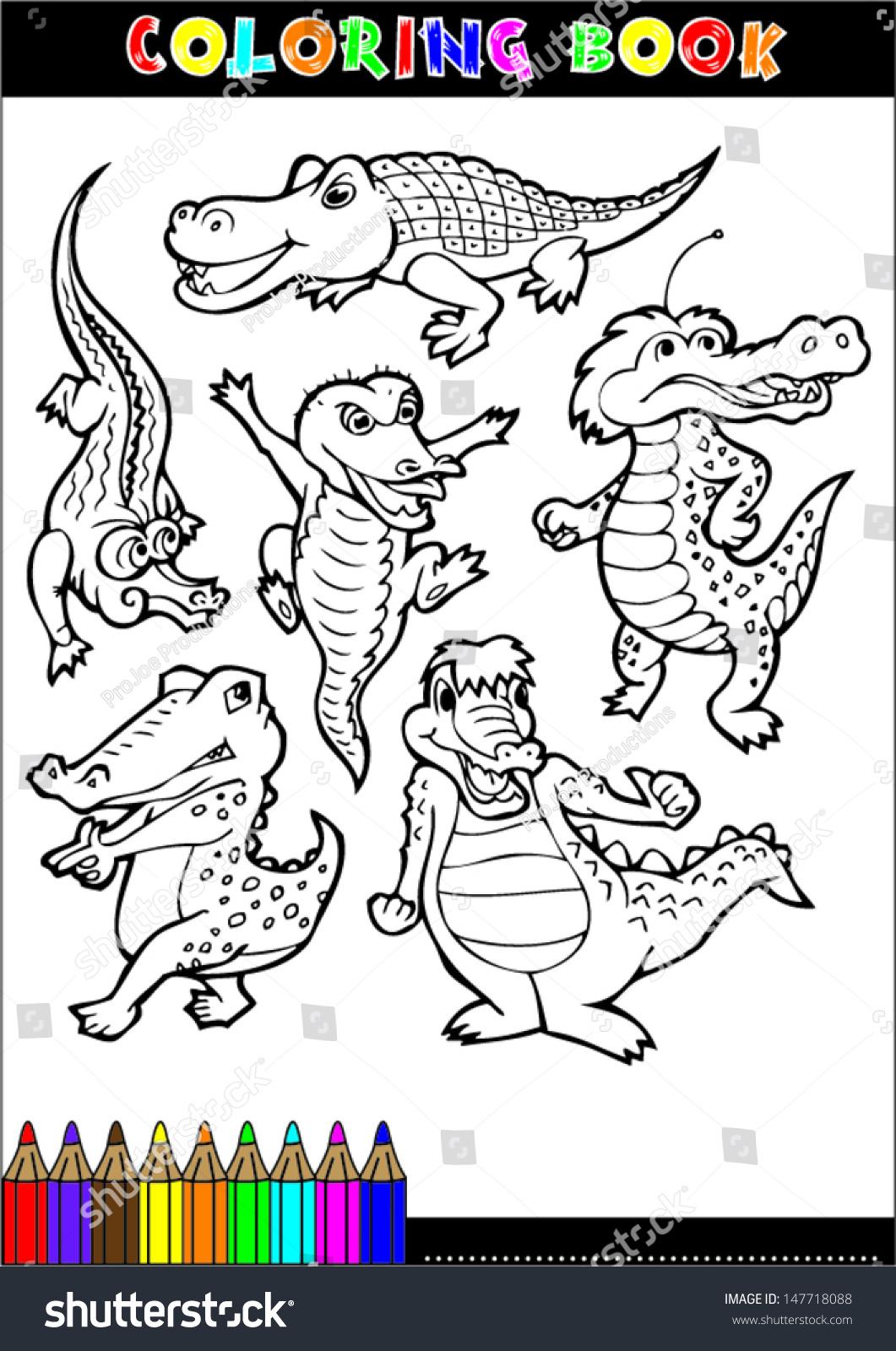 Cartoon Crocodile For Coloring Book Illustrations Children