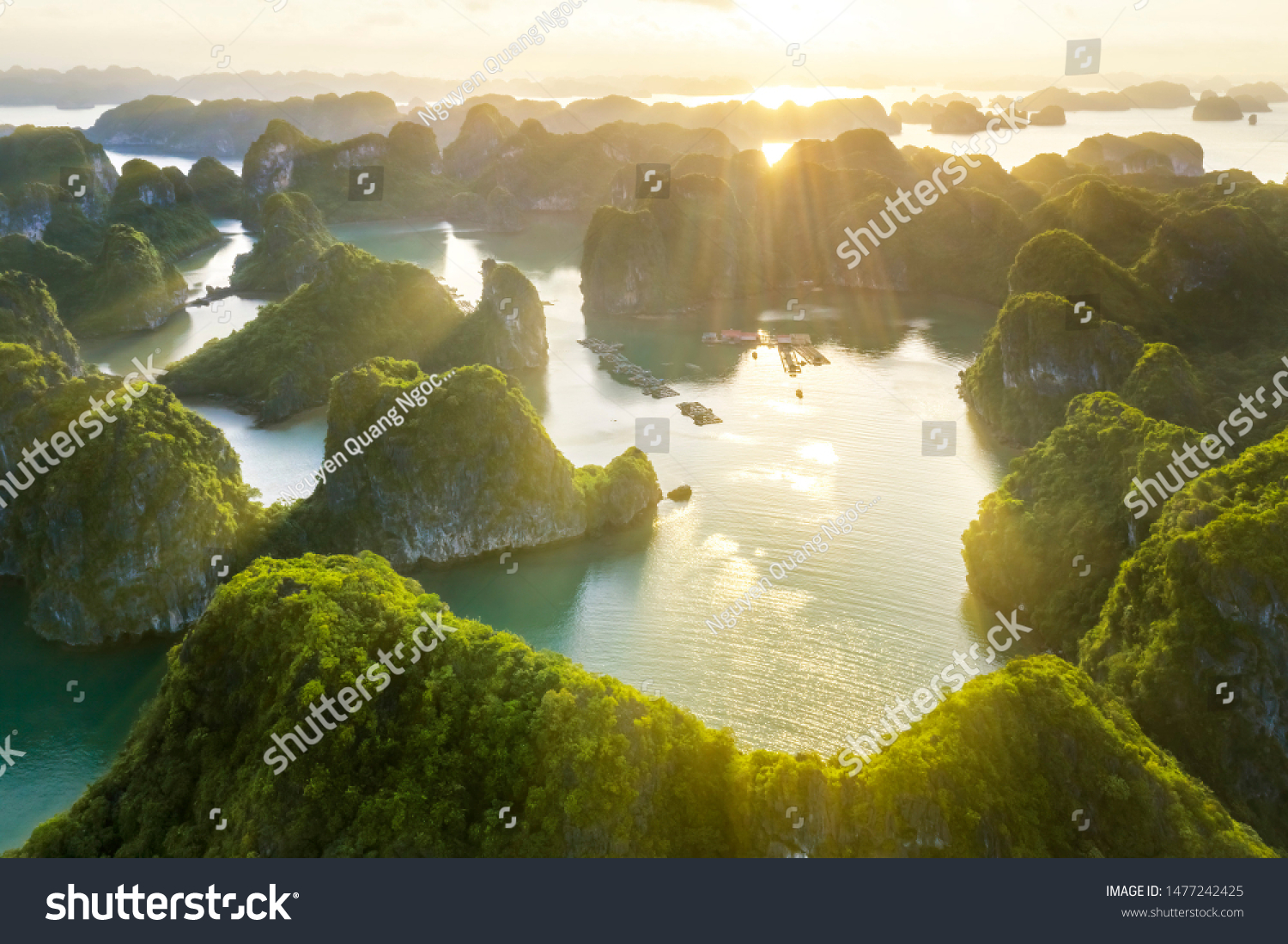 Aerial view Vung Vieng floating fishing village and rock island, Halong Bay, Vietnam, Southeast Asia. UNESCO World Heritage Site. Junk boat cruise to Ha Long Bay. Famous destination of Vietnam #1477242425