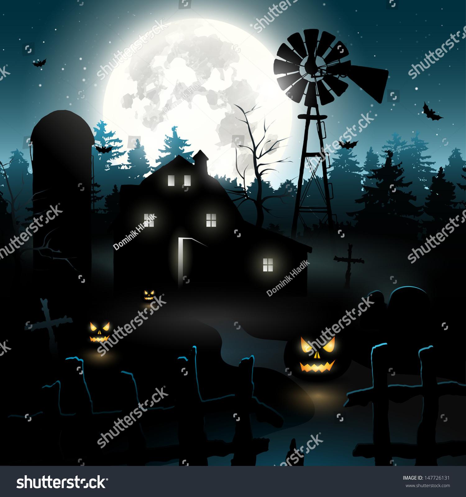 Haunted Farmhouse Woods Halloween Background Stock Vector ...
