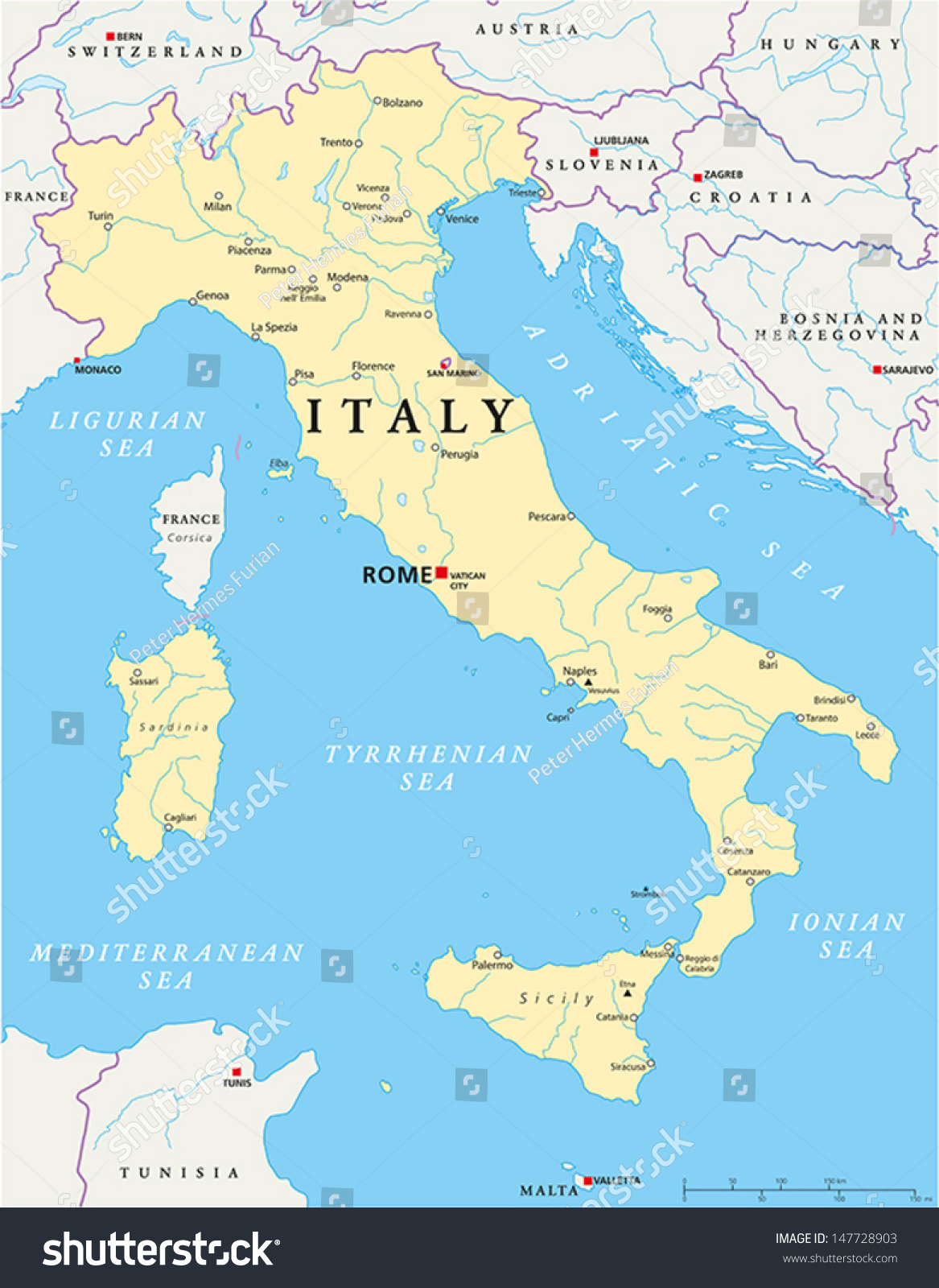 Italy Map Hand Drawn Map Italy Stock Vector (Royalty Free) 147728903 ...