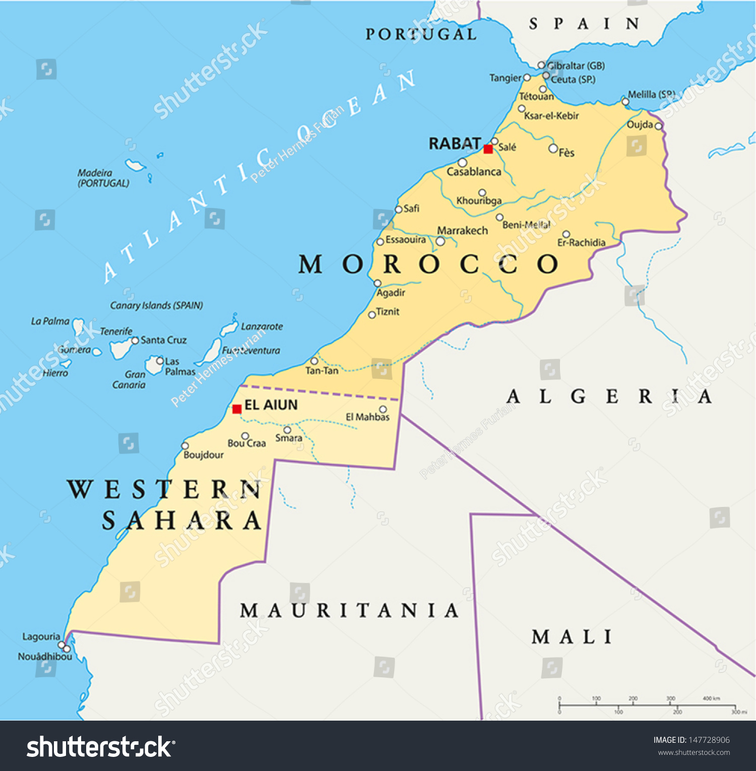 Morocco Western Sahara Map Hand Drawn Stock Vector - Western sahara map
