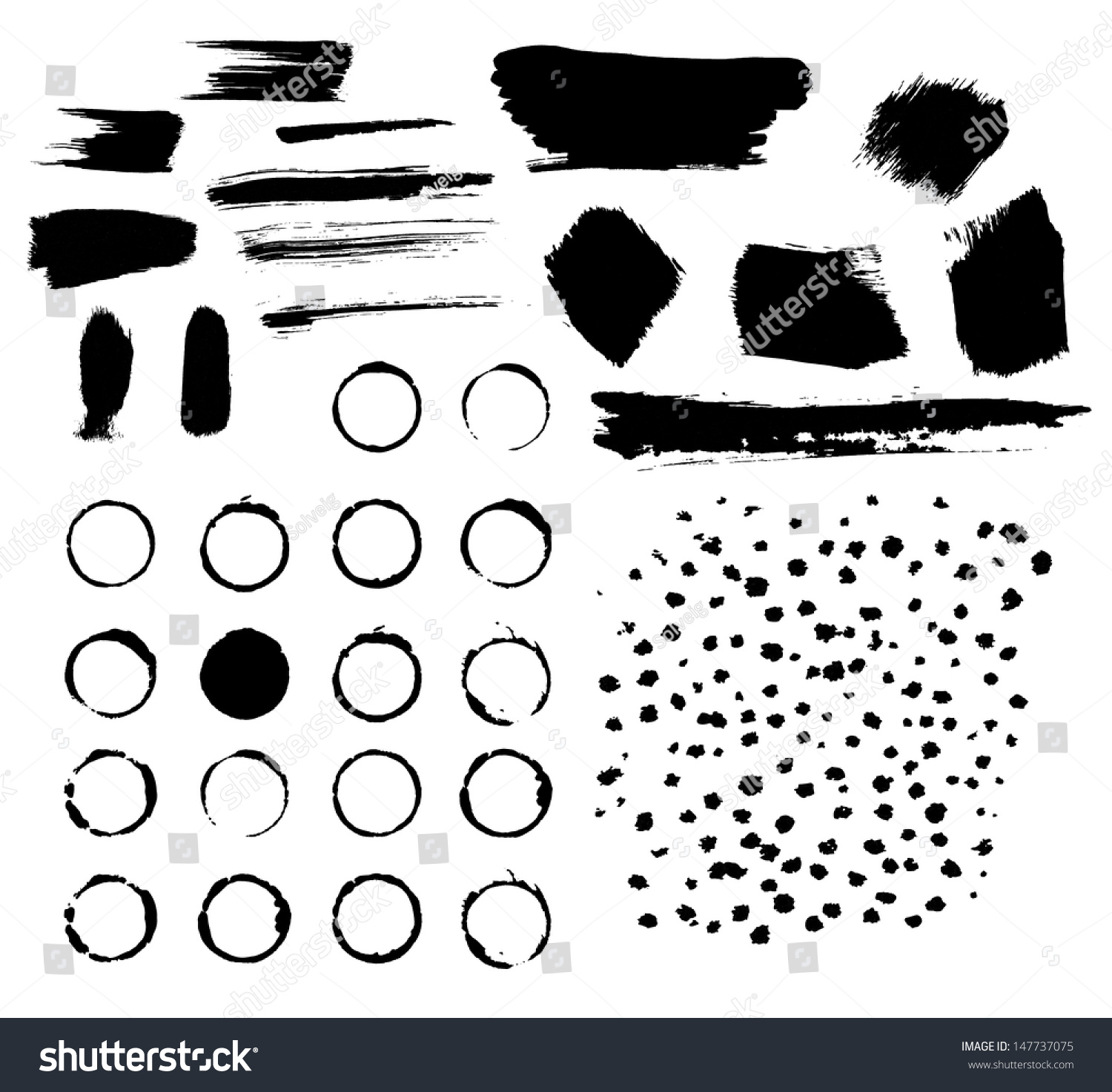Vector grunge stains, strokes and round imprints.