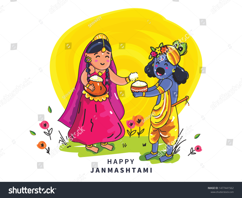 stock vector beautiful illustration of lord krishna doodle wallpaper design for hindu festival shree krishna 1477441562