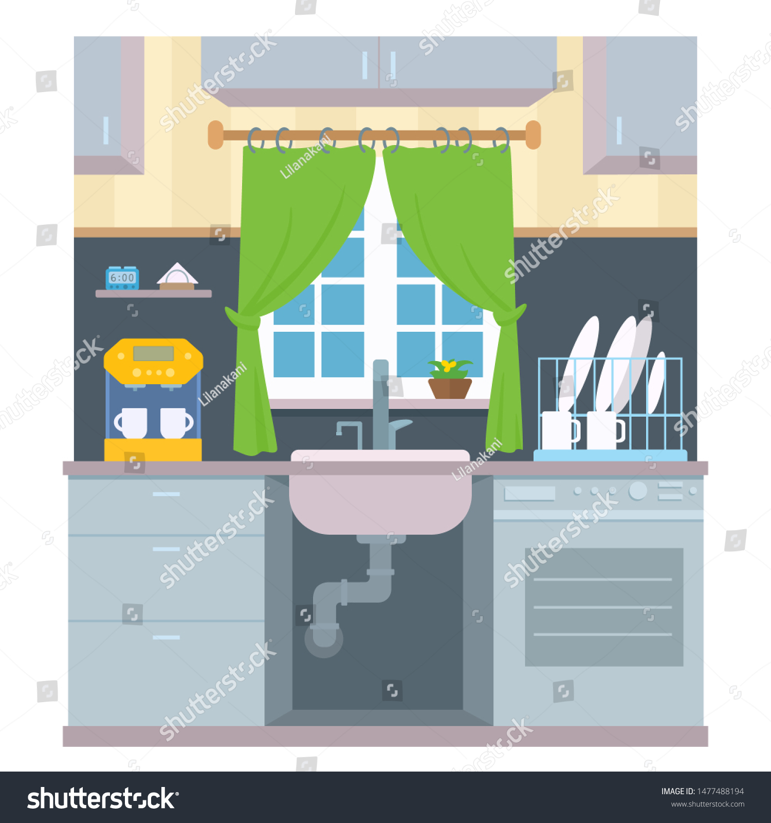 Kitchen Window Over Sink Front View Stock Vector Royalty Free 1477488194