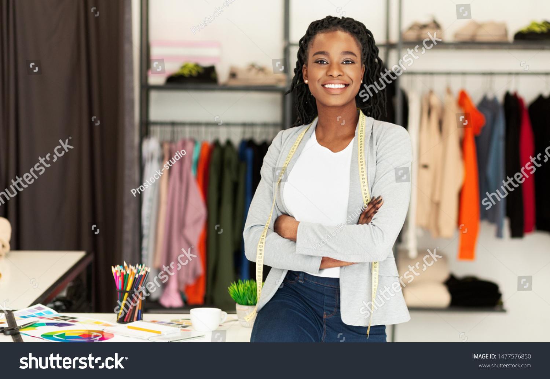 Successful Fashion Business Smiling Black Designer Stock Photo Edit Now 1477576850