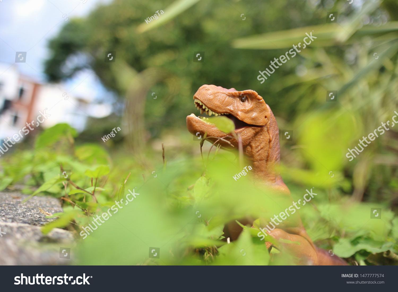 Vegetarian Dinosaur Against Blurred Background Green Stock Photo Edit Now 1477777574