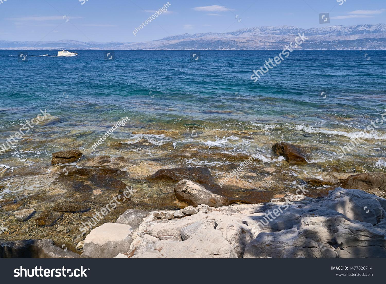 Beach in the area of Supetar. Brac island . Croatia #1477826714