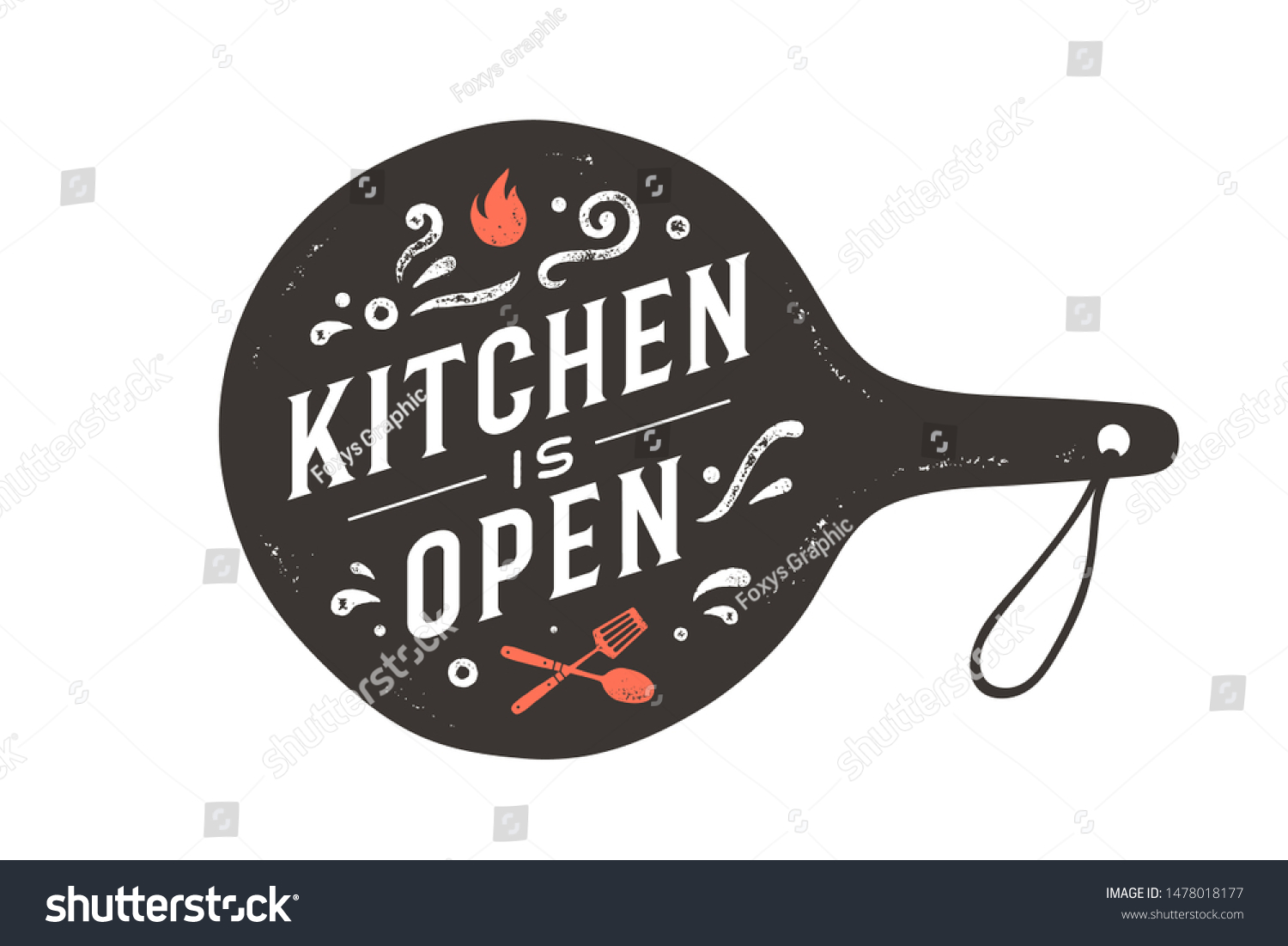 Kitchen Open Wall Decor Poster Sign Stock Vector Royalty Free 1478018177