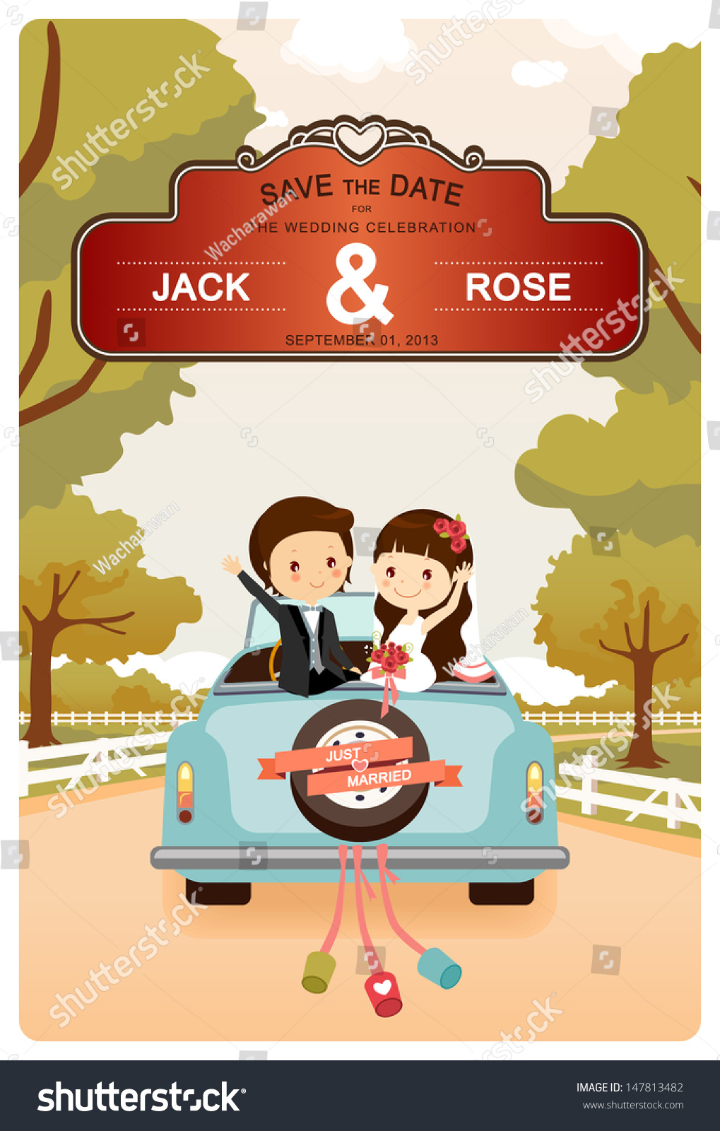 Just Married Cute Wedding Car On Stock Vector Royalty Free
