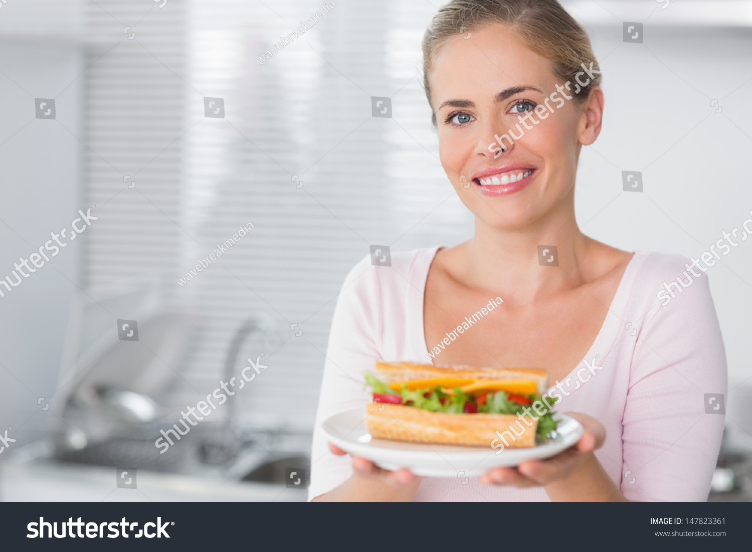 Happy Woman Holding Sandwich Her Kitchen Stock Photo 147823361 ...