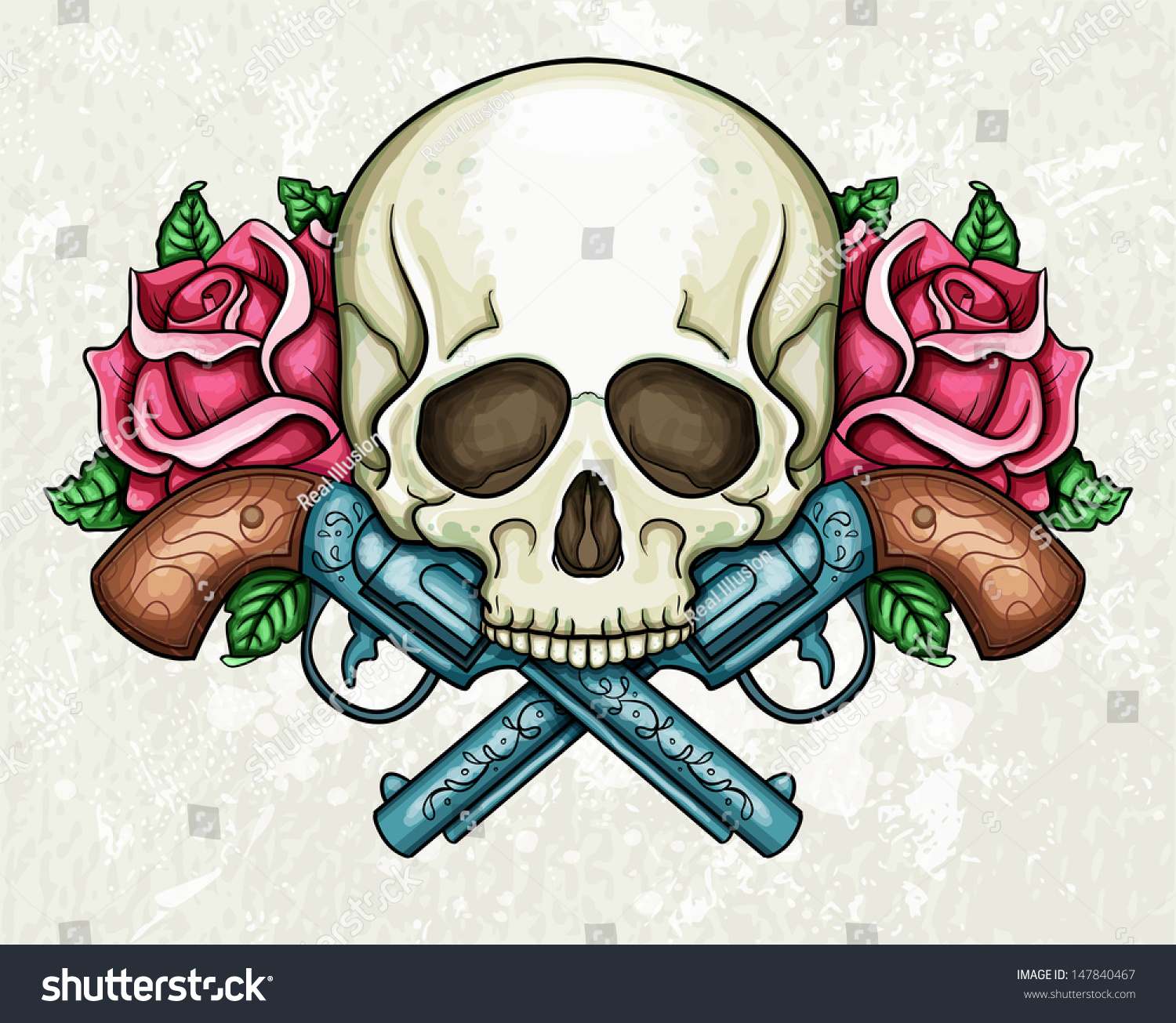 Skull Crossed Guns Roses Stock Vector 147840467 Shutterstock
