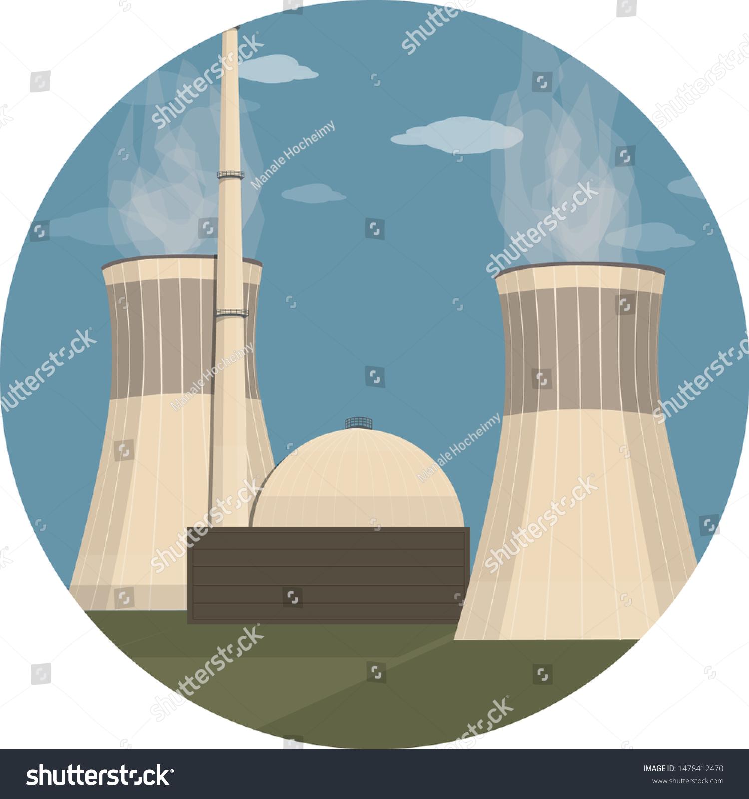 Vetor Stock De Nuclear Power Plant Energy Facility Power Livre De Direitos 1478412470