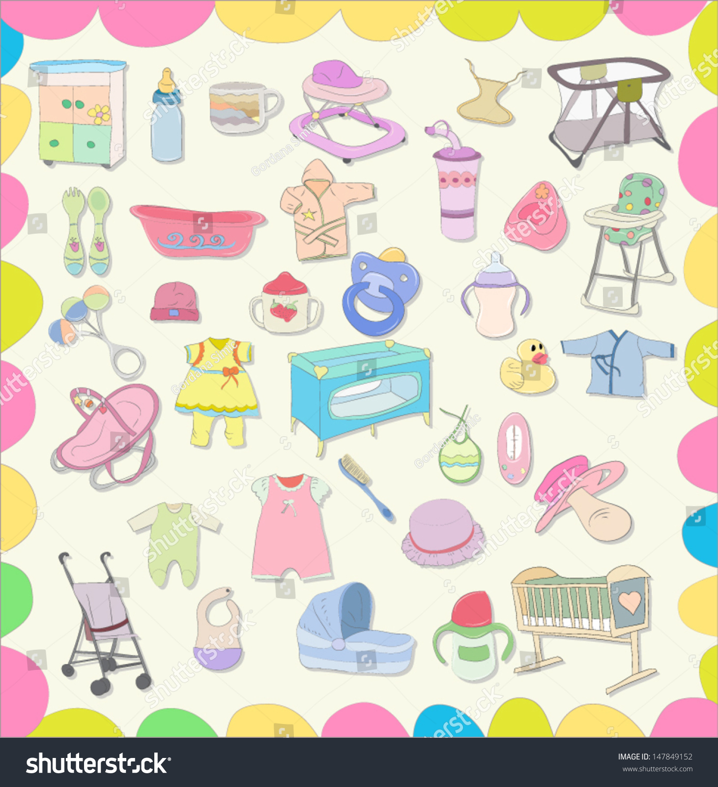 Set Baby Items Vector Eps 10 Stock Vector Royalty Free 147849152