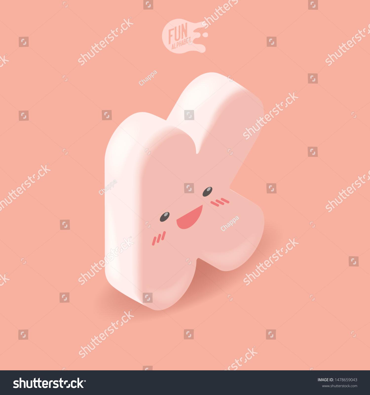 Big Pink Kawaii Isometric Letter K Stock Vector Royalty Free 1478659043