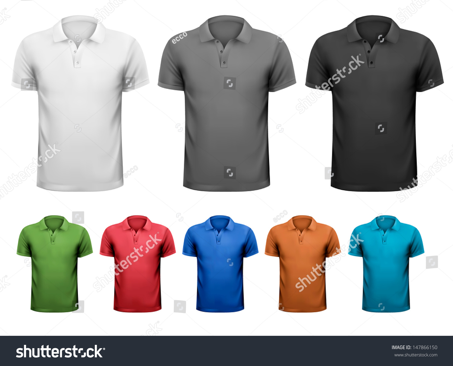 005a4a21 Black and white and color men t-shirts. Design template. Vector illustration