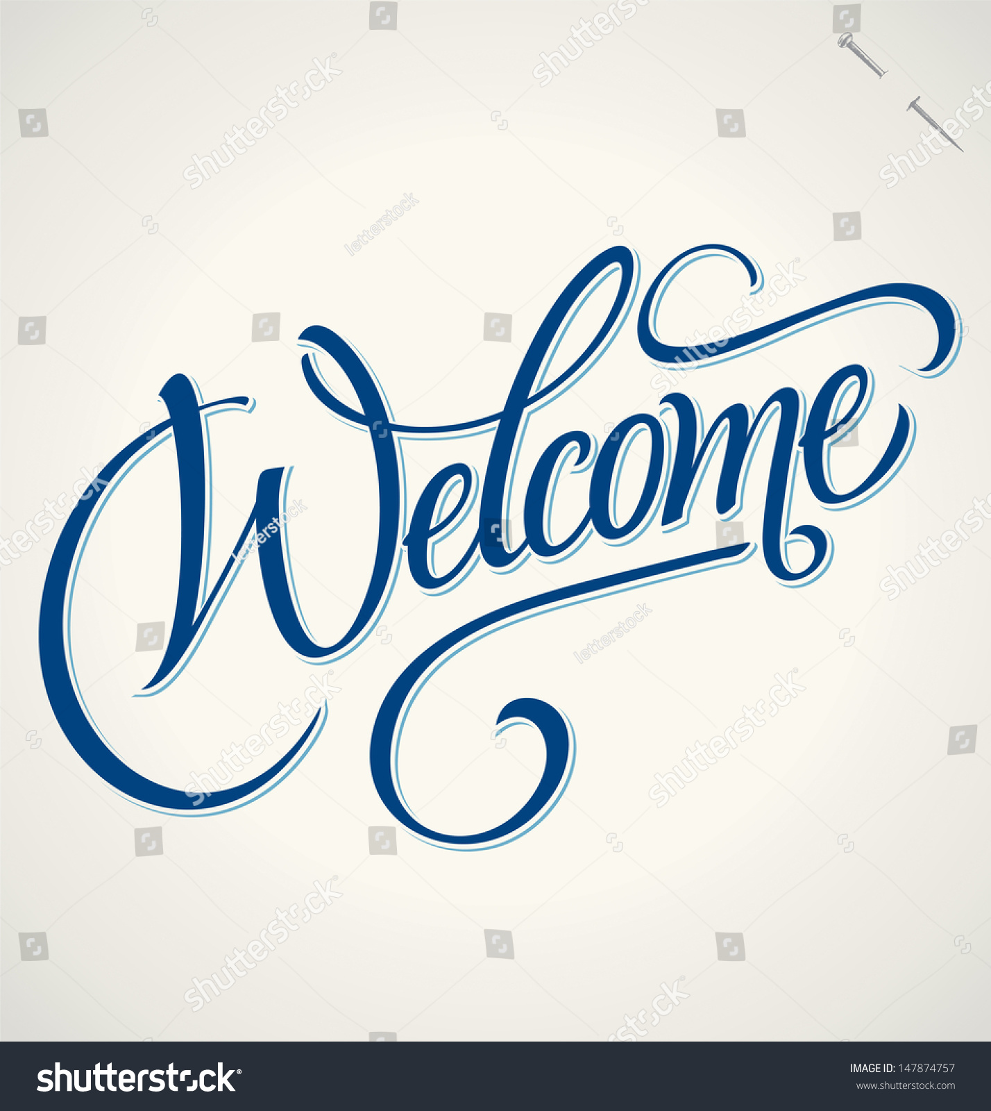 Welcome Hand Lettering Handmade Calligraphy Vector Stock