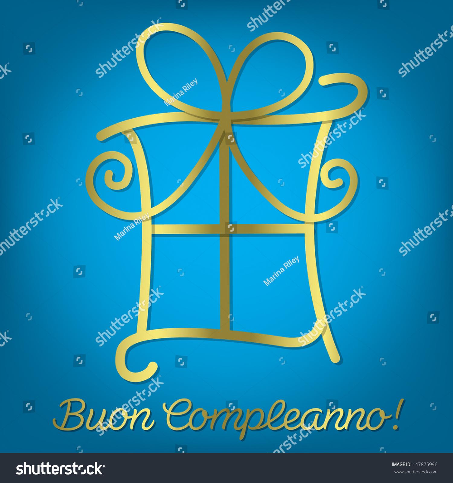 Bright Italian Happy Birthday Card In Vector