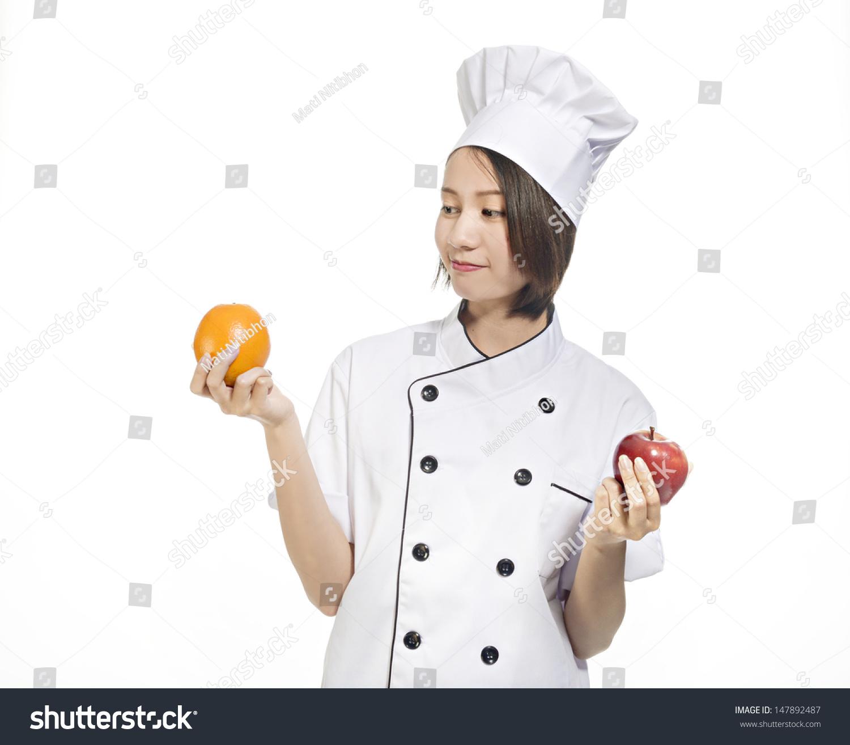 Asian Amateur young female asian amateur chef white stock photo (edit now