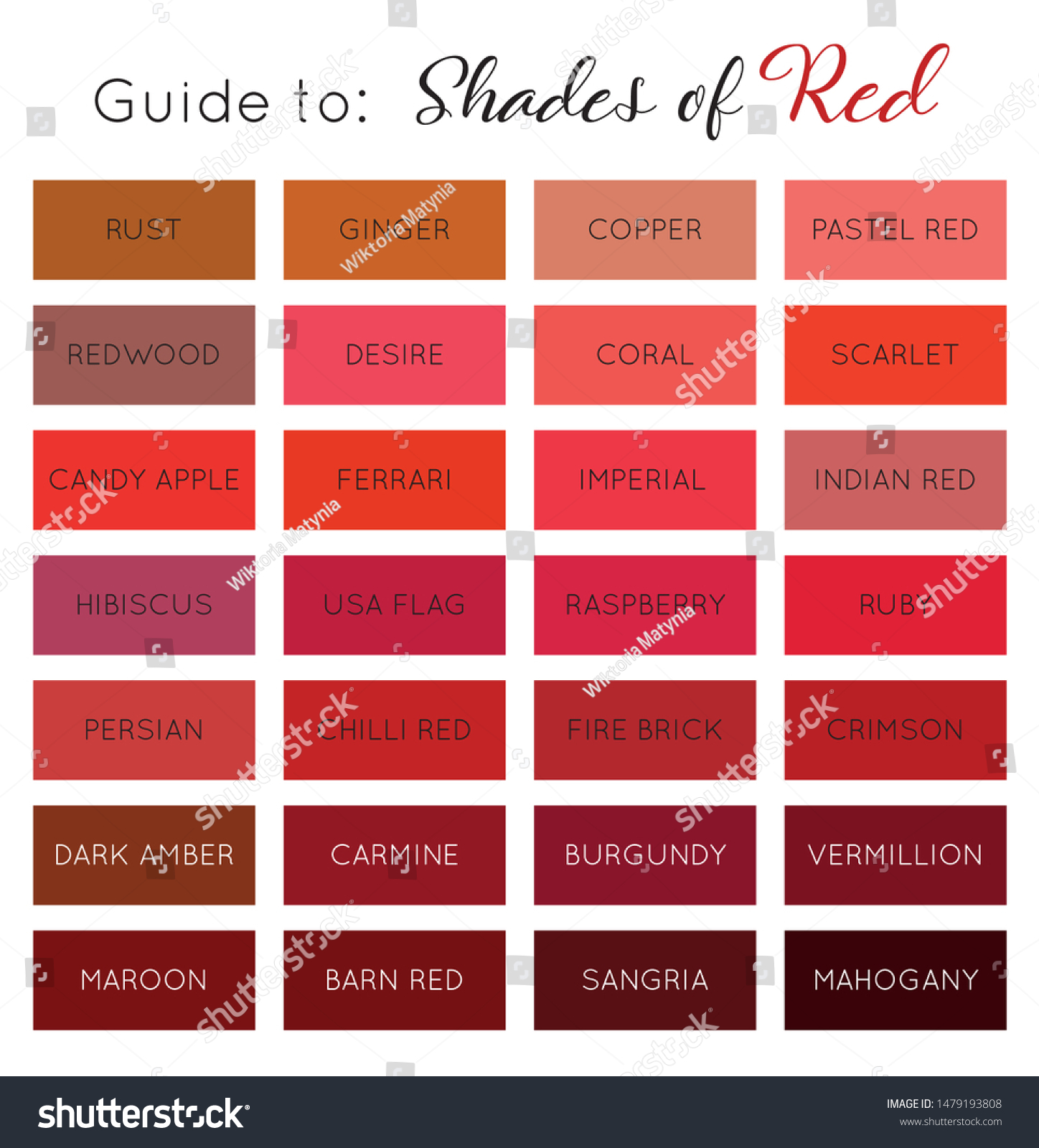 Guide Shades Red Color Palette Names Stock Vector Royalty Free 1479193808
