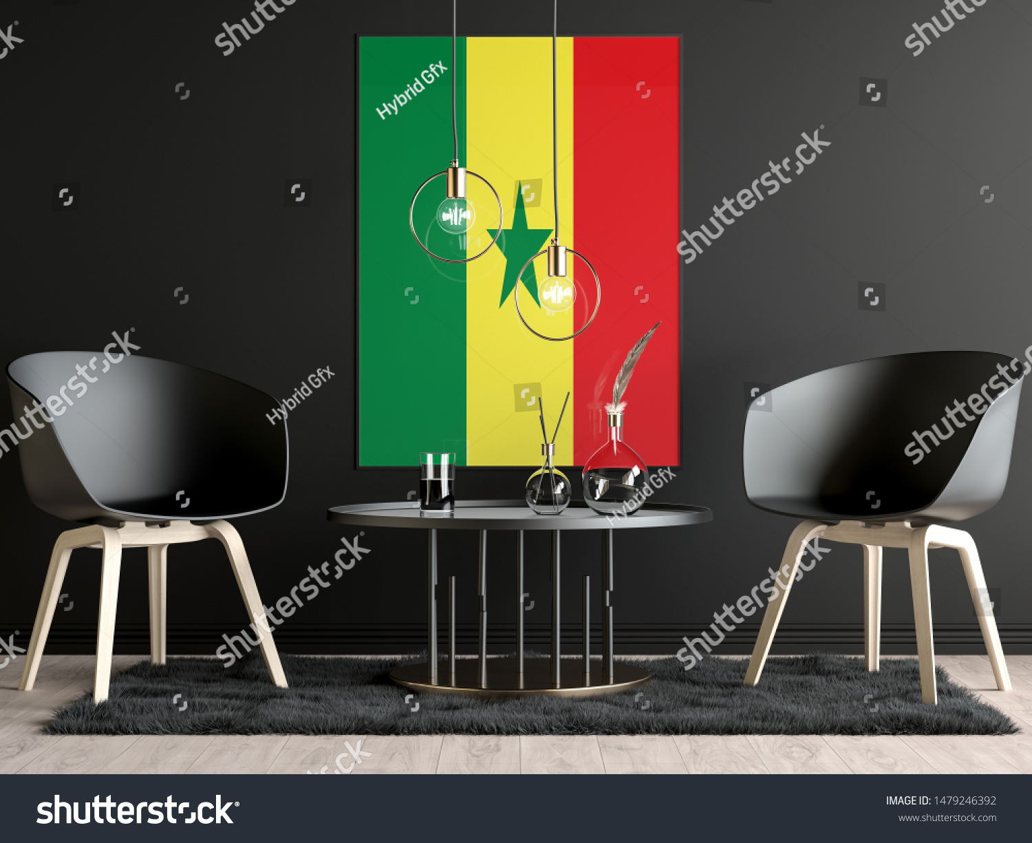 Senegal Flag in Room, Senegal Flag in Photo Frame #1479246392