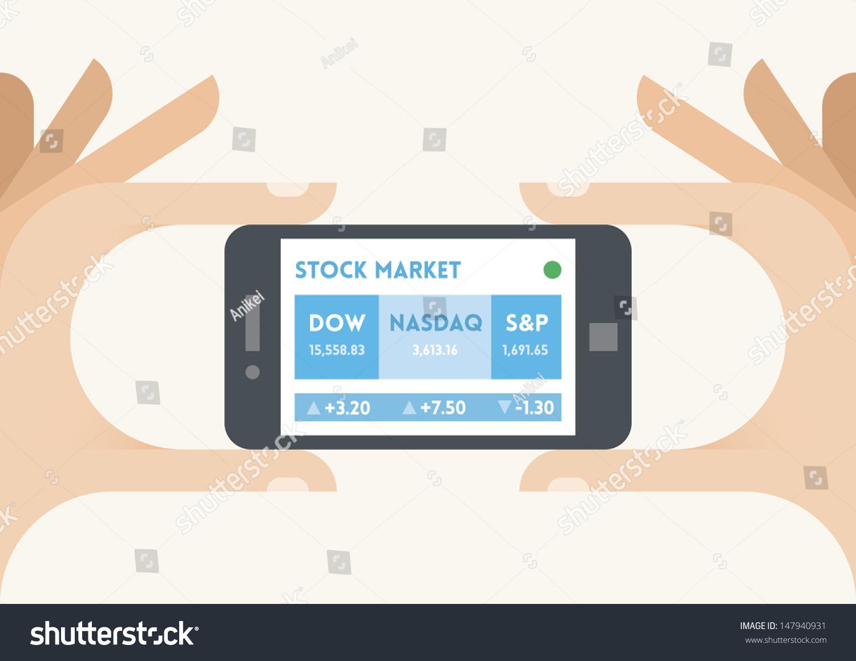 Mobile phone us stock market indices stock vector 147940931 mobile phone with us stock market indices dow jones nasdaq and sp ticker buycottarizona Choice Image