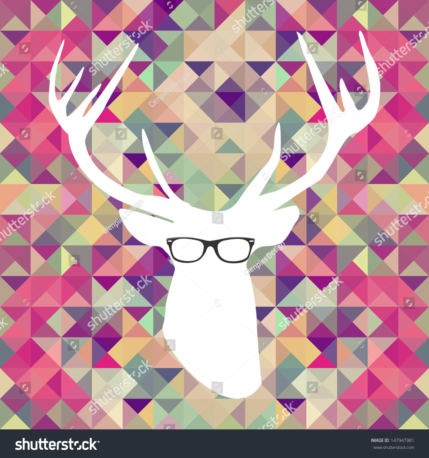 Hipster Christmas Deer Silhouette Over Triangle Stock ...