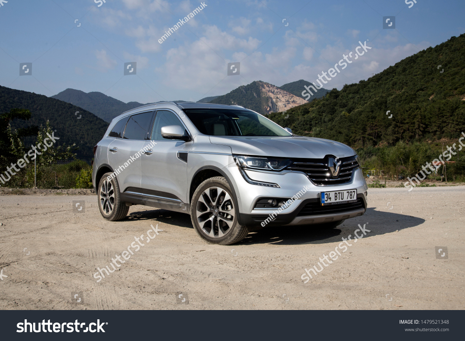 Istanbul/Turkey - August 1 2019 : Renault Koleos is a compact crossover SUV, uses the Renault-Nissan Common Module Family (CMF-CD) modular platform. #1479521348