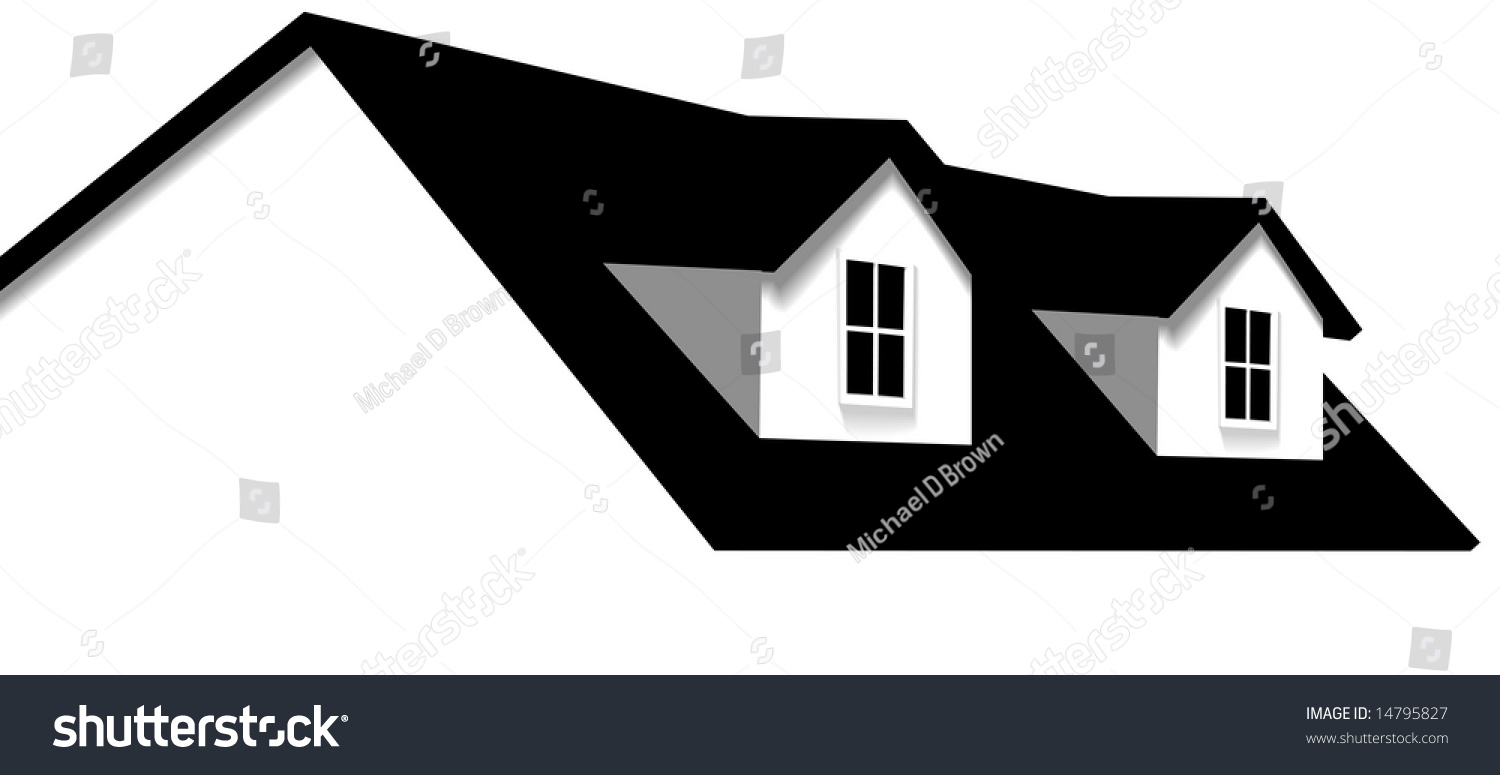 Clean Abstract House Design Element Roof With 2 Dormer