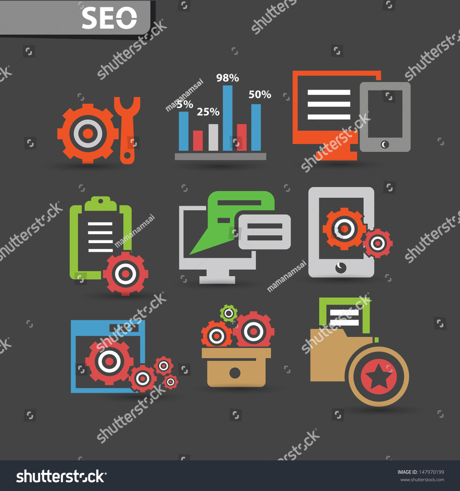 Seo icons software iconsvector stock vector 147970199 Vector image software