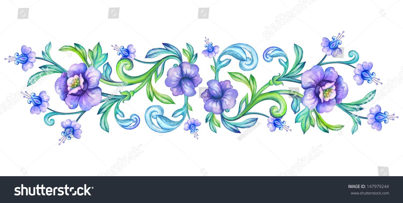 Decorative Floral Border Design Element Watercolor