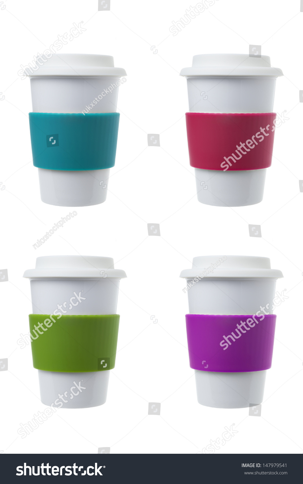 Coffee Cup With Colorful Silicone Sleeve Stock Photo