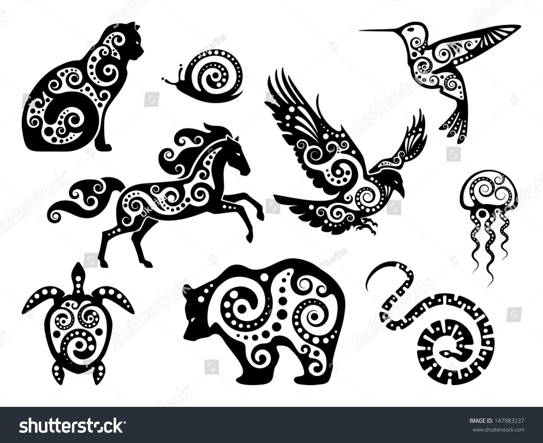 Animal Design Silhouette Set Stock Vector 147983237