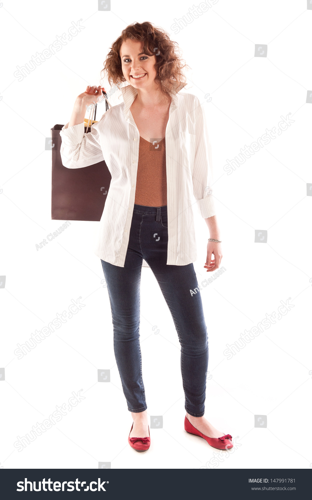 Woman posing with shopping bags isolated on white background full - Young Woman Posing With Shopping Bags Of Her Shoulder Isolated On White Background