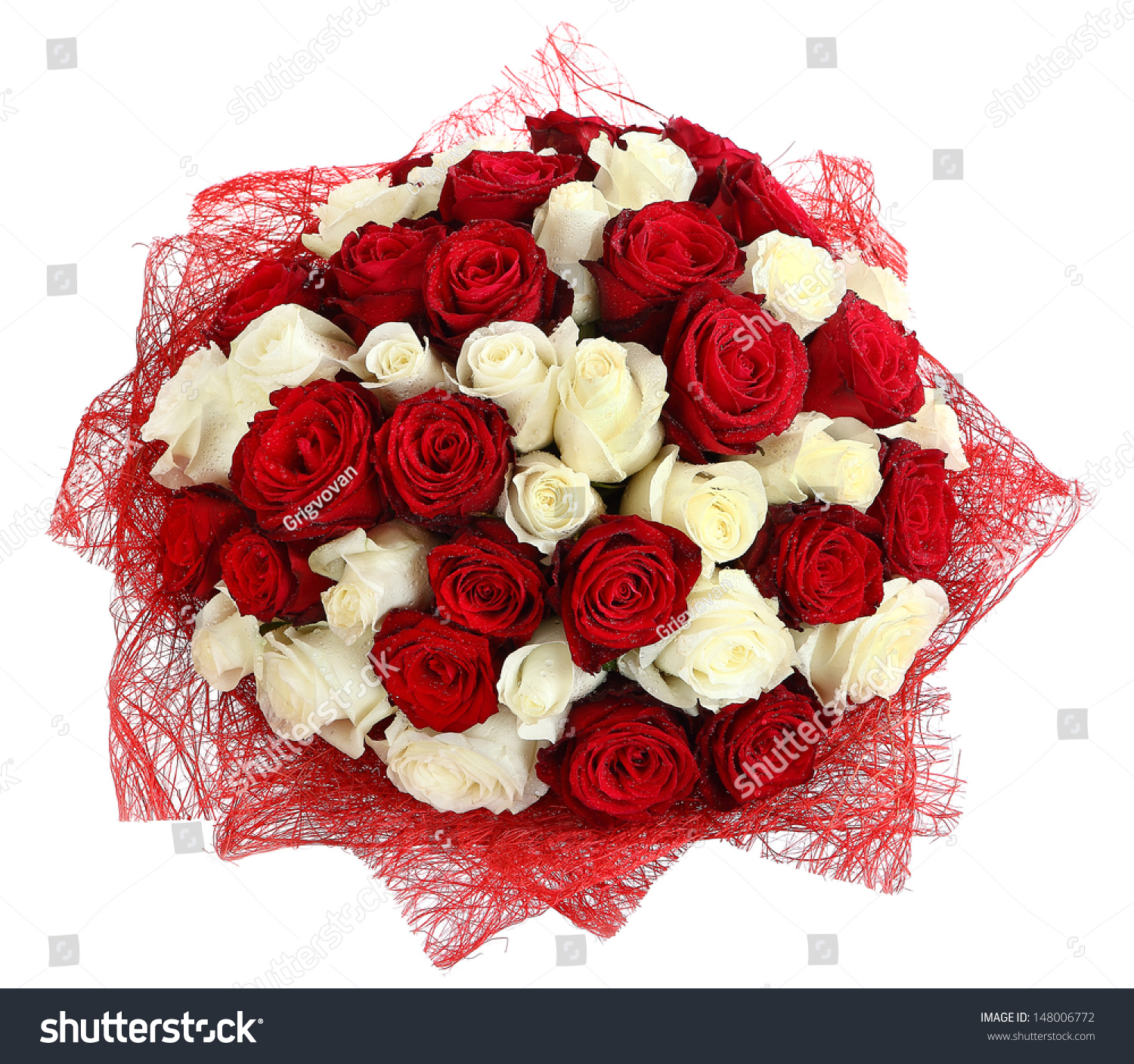 Floral compositions red white roses large stock photo for Different color roses bouquet