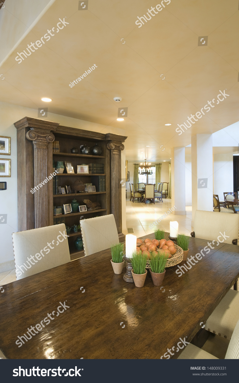 Wooden Dining Table Cabinet Dining Room Stock Photo 16 ...