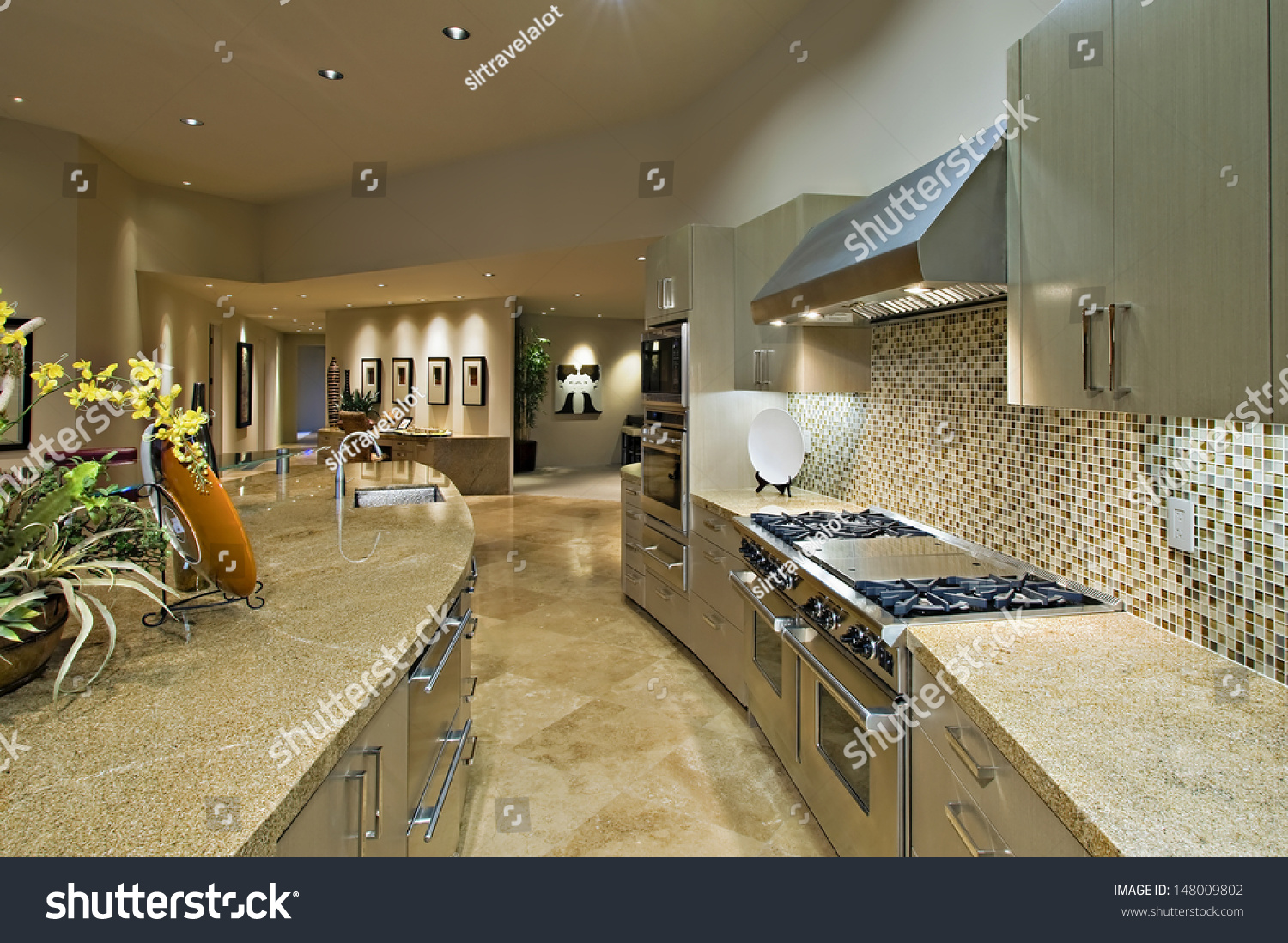 Open plan kitchen living room modern stock photo 148009802 for Contemporary open plan kitchen living room
