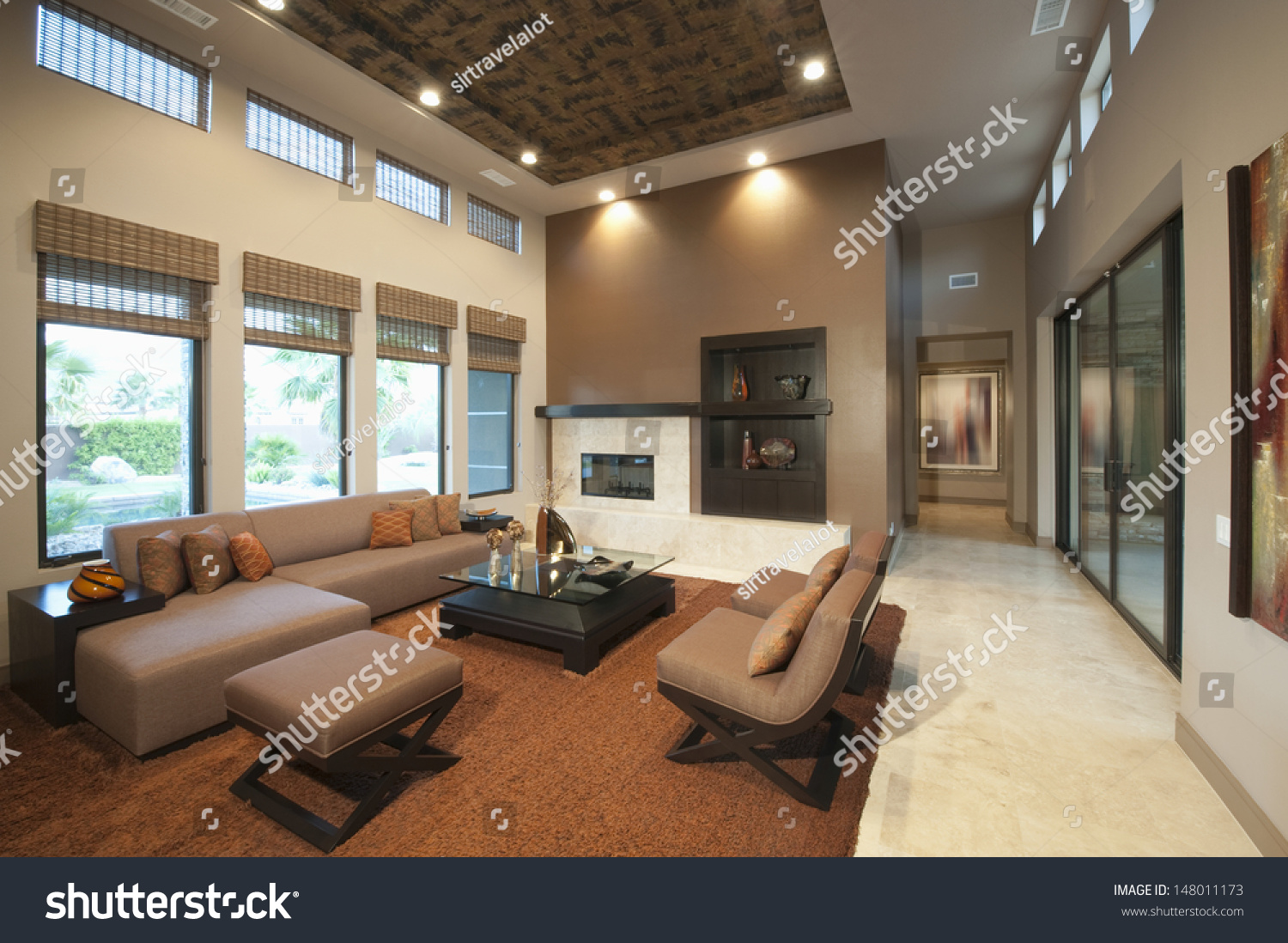 Spacious Living Room Double Height Ceiling Stock Photo 148011173 Shutterstock