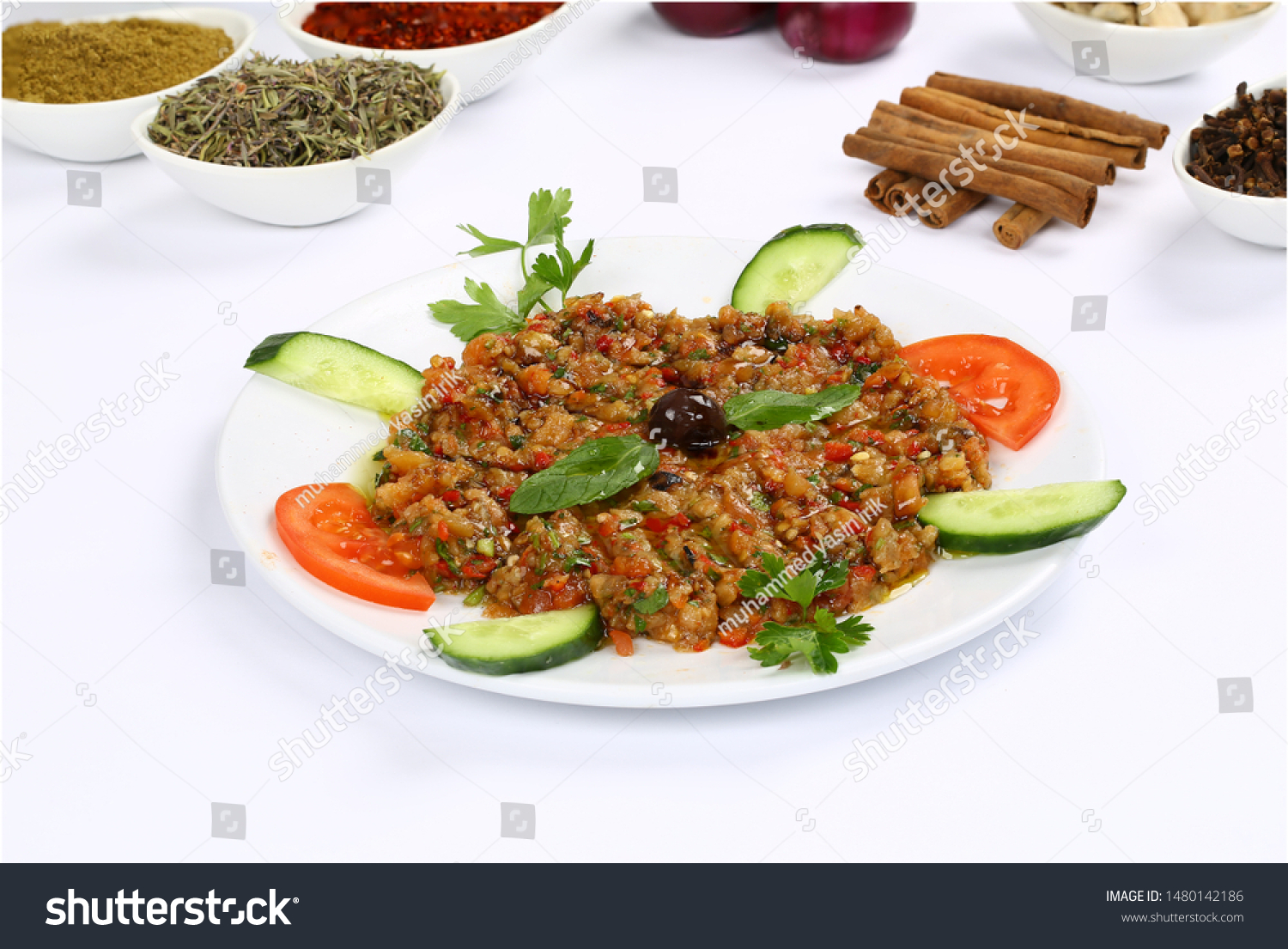 Acılı Ezme turkish meze acili ezme acuka muhammara stock photo (edit
