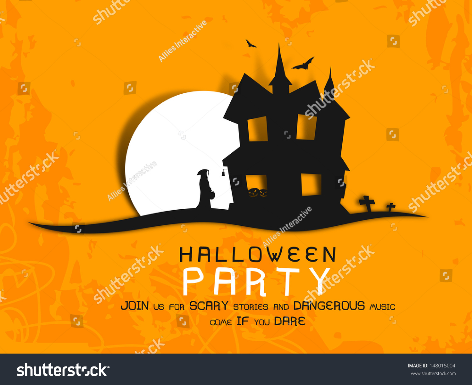 Poster, Banner Or Background For Halloween Party Night With ...