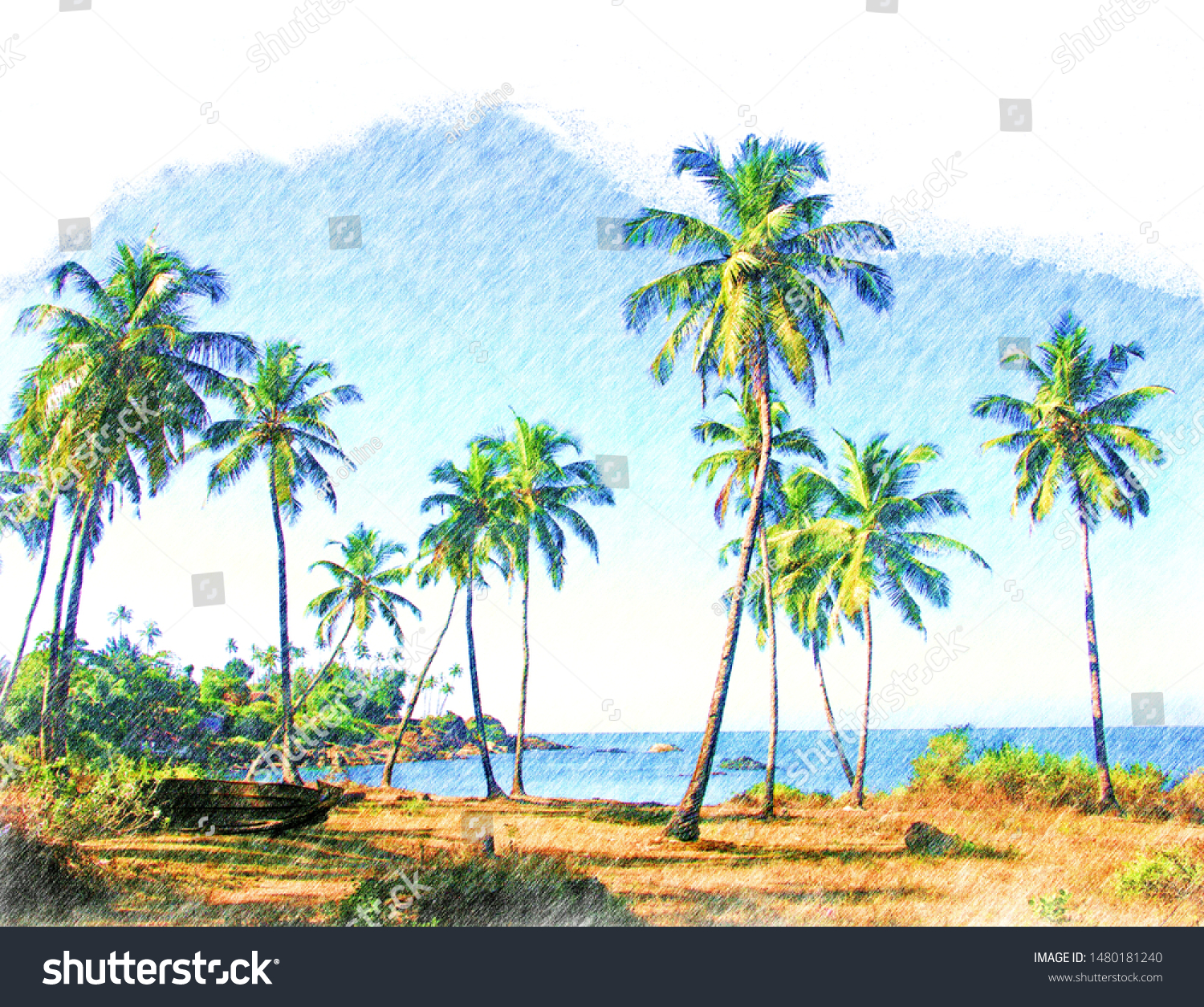 Color Pencil Drawing Tropical Nature Palm Stock Illustration 1480181240