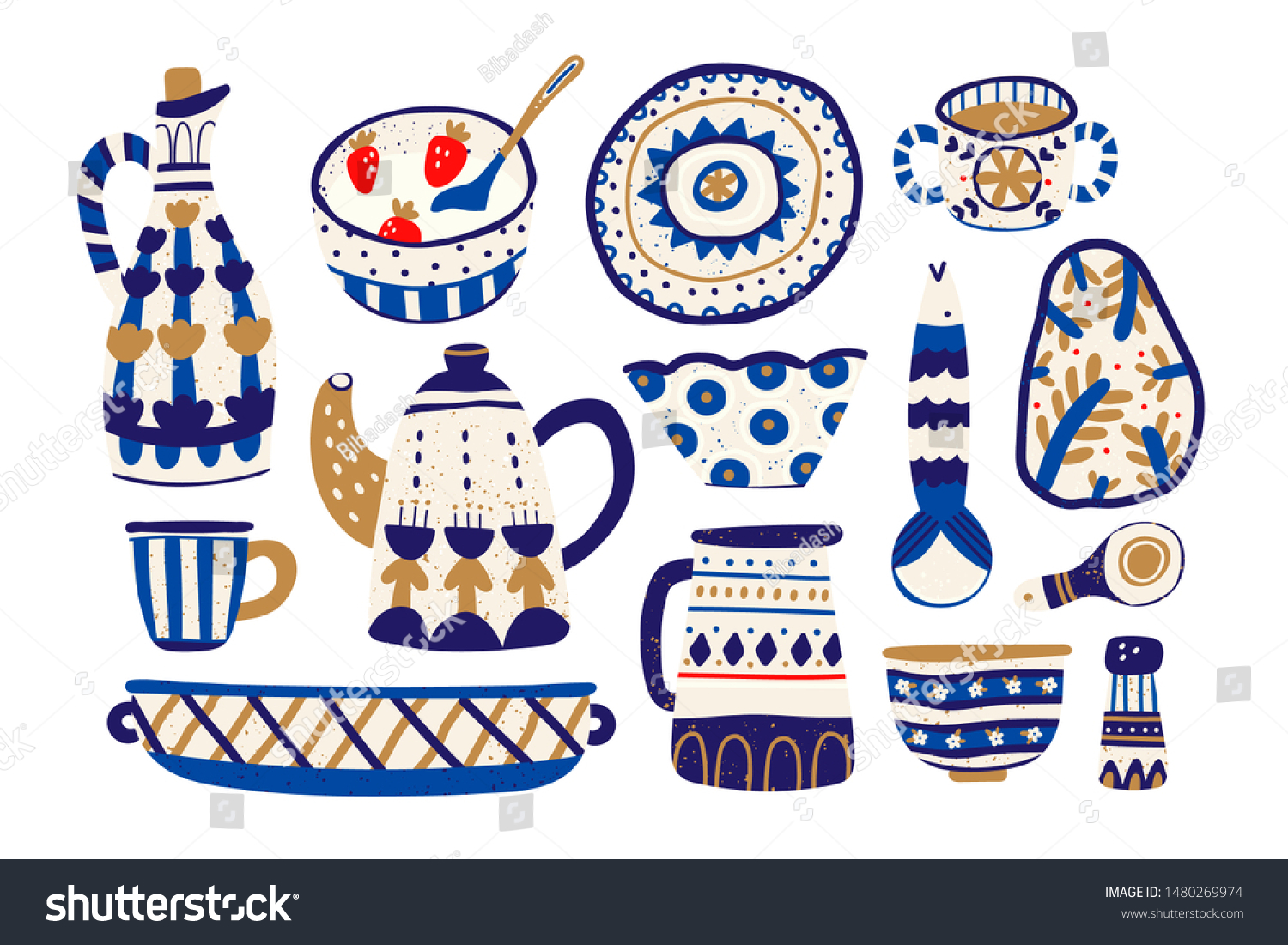 Various Ceramics Pottery Dishes Pot Cup Stock Vector Royalty Free 1480269974