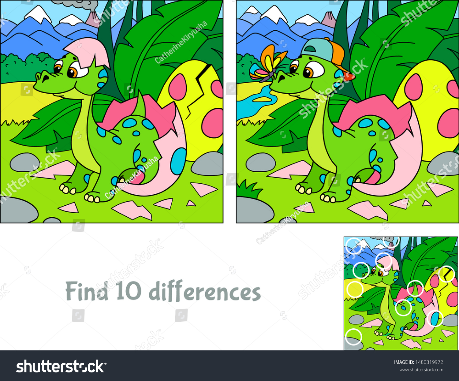 Baby dinosaur hatching. Hide 10 differences. Educational game for children. Cartoon vector illustration. #1480319972